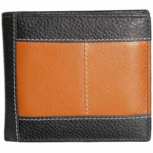 Tamanna Men Black, Tan Genuine Leather Wallet (9 Card Slots