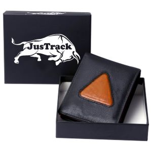 Justrack Men Black, Tan Genuine Leather Wallet (8 Card Slots)