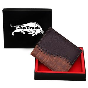 Justrack Men Brown Genuine Leather Wallet (8 Card Slots)