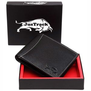 Justrack Men Black Genuine Leather Wallet (6 Card Slots)