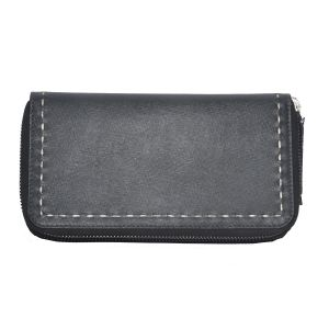 Tamanna Women Black Genuine Leather Wallet (11 Card Slots)