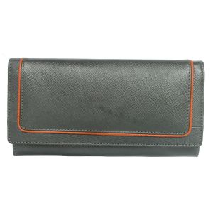 Tamanna Women Black Genuine Leather Wallet (10 Card Slots)