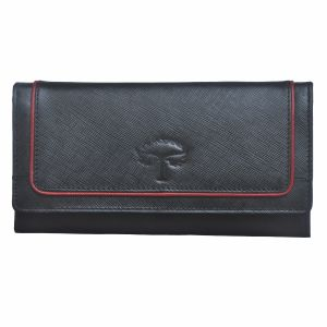Tamanna Women Black, Red Genuine Leather Wallet (10 Card Slots)