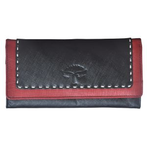 Tamanna Women Black, Red Genuine Leather Wallet (9 Card Slots)