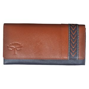 Tamanna Women Tan, Blue Genuine Leather Wallet (12 Card Slots)