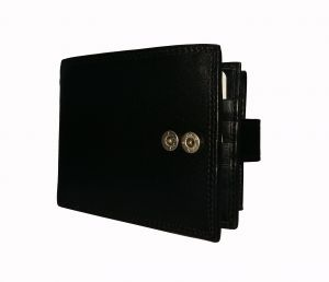 Wallets (Men's) - Dark Button Black Textured Premium Mens Genuine Leather Wallet By GetSetStyle GSSRE-BLK-7068