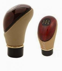 Feshya Type R Leather Plastic Gear Knob Handle For Car-brown & Beige