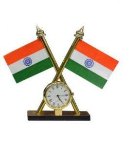Autoright Buy 1 Get 1 Free Indian Flag With Clock For Office Car Home