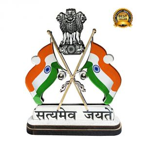 AutoRight SMJ Indian Cross Flag With Dual Print On Acrylic Base And Attached With Glass