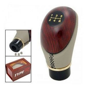 Autoright Type R Leatherette & Wooden Finished 5 Speed Manual Transmission Gear Beige Knob For Chevrolet Enjoy