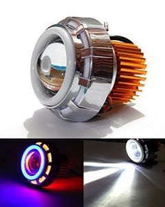 Autoright Projector Lamp LED Headlight Lens Projector Blue White And Red For Bajaj Discover 125 Dts-i