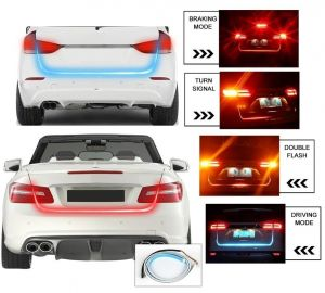 Autoright Tail Lights Streamer Brake Turn Signal LED Lamp Strip Waterproof For Cars (red And Blue)