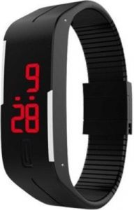 Varni Retail LED Rubber Magnet Black Colour Digital Watch - For Boys, Men,