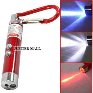 3in1 Laser Pointer 2 LED Flashlight Uv Torch Keychain Money Checker -01