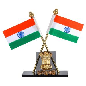 Autoright Indian Flag With Satyamev Jayate Symbol For Car Dashboard & Official Purpose