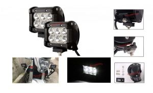 Autoright 6 LED Fog Light / Work Light Bar Spot Beam Off Road Driving Lamp 2 PCs 18w Cree For Bajaj Discover 100 Dts-i