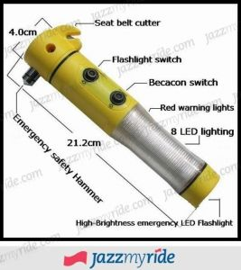 Speedwav 5 In 1 Car Emergency Tool With Hammer LED Flashlight Safety Belt Cutter Magnet Surface & Torch