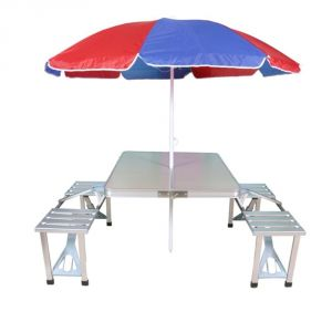 Medela Home Decor ,Kitchen  - Mart and New Heavy Duty Aluminium Portable Folding Picnic Table & Chairs Set With Multicolor Umbrella