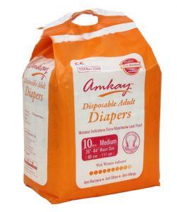 Sanitary Napkins - AMKAY - Adult Diapers Medium Size (Pk of 10 Pcs)