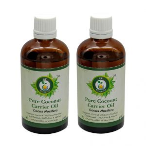 R V Essential Pure Coconut Carrier Oil (100ml+100ml) Pack Of Two- Cocus Nucifera