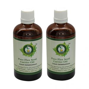 R V Essential Pure Flax Seed Carrier Oil (100ml+100ml) Pack Of Two-linum Usitatissimum