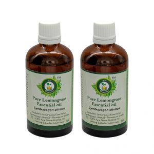 R V Essential Pure Lemongrass Essential Oil (100ml+100ml) Pack Of Two- Cymbopogon Citratus