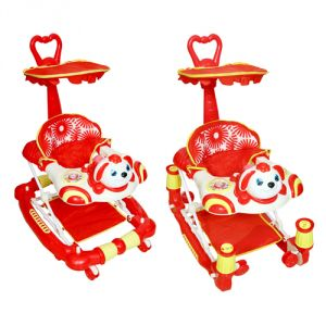 Harry & Honey Bunny Design Baby Musical Walker Cum Rocker Red With Key Ring