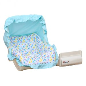Harry & Honey Mad Angles Baby Carry Cot Cum Rocker-sky Blue With Key Ring