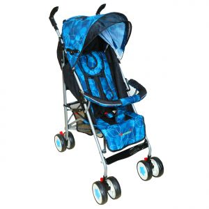 Prams - HARRY & HONEY GEOMETRIC PRINT BABY STROLLER BLUE WITH WIPES