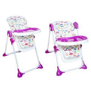 Harry & Honey 2 In 1 Nursery Print High Chair Purple With Baby Wipes