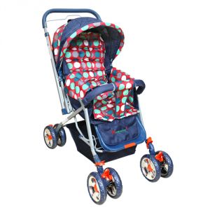 Harry & Honey Polka Dots Baby Stroller Red- Navy Blue With Wipes