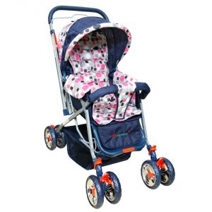 Harry & Honey Polka Dots Baby Stroller Pink- Grey