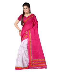 Designer Bhagalpuri Silk Saree With Unstitched Blouse (mheart07)
