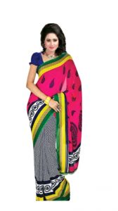 Mheart Georgette Multicolor Saree With Blouse (mh056)