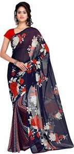 Mheart Georgette Multicolor Saree With Blouse(mh077)