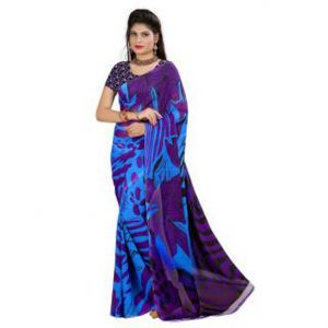 Mheart Georgette Multicolor Saree With Blouse (mh054)