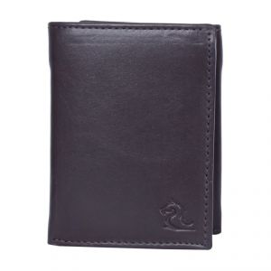 Kara Brown Color Leather Tri-fold Wallet For Men