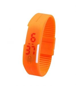 LED Jelly Slim Digital Trendy Watch Orange