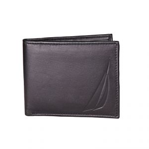Nautica Plain Black Formal Pure Leather Wallet For Men
