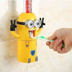 Toothbrush holders - Kreativekudie minion tooth brush holder nad toothpaste dispenser Plastic Toothbrush Holder  (Yellow, Wall Mount)