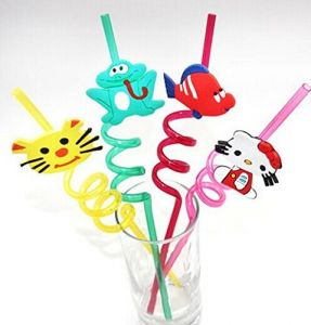 Set Of 4 Fun Curly Pvc Drinking Reusable Straws - For Birthday, Party (variable Fruit Or Cartoon Shapes As Per Availability)