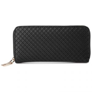 Stylish Black Color Pu Handbag Clutch Wrist Wallet For Ladies Zipper Patchwork Bcw30121605