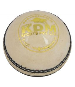 Kdm Sports Thunder White Leather Ball