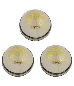 Kdm Sports Spark White Leather Ball - Pack Of 3