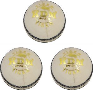Kdm Sports Tiger Cricket Ball - Size 3, Diameter 7 Cm (pack Of 3, White)