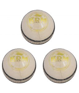 Kdm Sports Thunder White Leather Ball - Pack Of 3