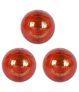 Kdm Sports Tiger Red Leather Ball - Pack Of 3