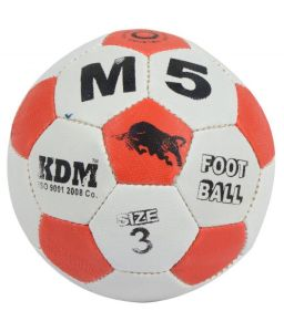 Football - KDM Sports M 5 White and Orange Rubber Football