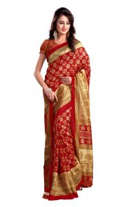 Mahadev Enterprises Red Colour Bhagalpuri Silk Saree Meb_100