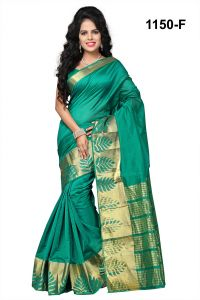 Mahadev Enterprises Green Banarasi Silk Weaving Saree With Blouse Rjm1150f